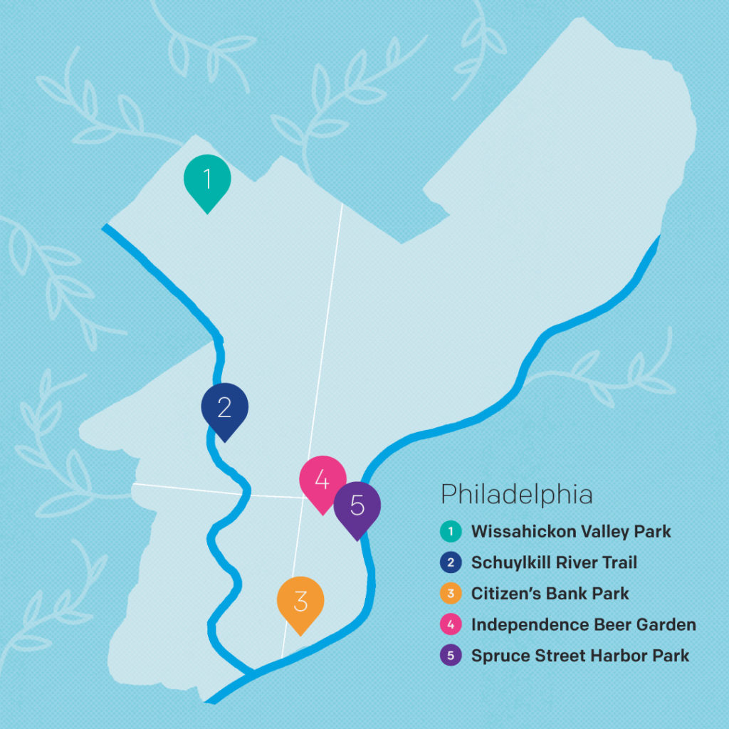 Philadelphia map of activities by Ellen Dooley